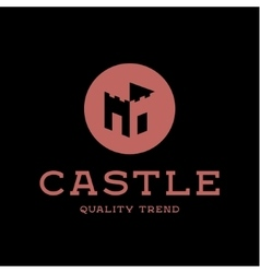Castle fortress brand logo design trendy flat vector image