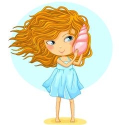 girl with a seashell vector image vector image