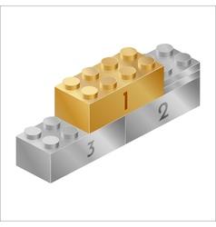 Golden and silver pedestal constructor brick vector image