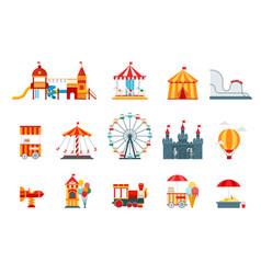 amusement park flat elements fun icons vector image vector image