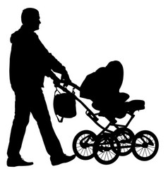 black silhouettes father with pram on white vector image