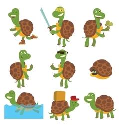 Cartoon turtles set vector image vector image