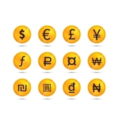 Golden coins with main worlds currency signs vector image vector image