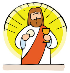 jesus present in the holy communion vector image