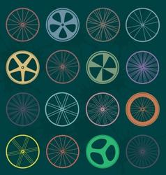 Retro Style Bike Wheel Silhouettes vector image vector image