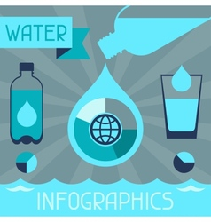 Water infographics in flat design style vector image