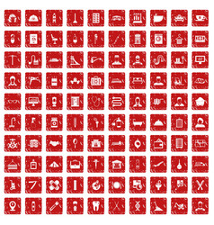 100 craft icons set grunge red vector
