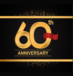 60 years anniversary logotype with premium gold vector