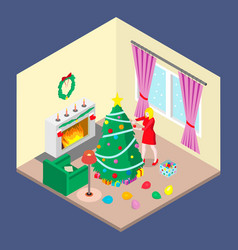 a girl is decorating a christmas tree vector image
