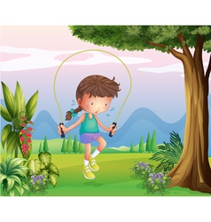 A sweaty young girl playing at the hills vector image