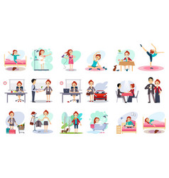 Active day of happy woman daily routine cartoon vector