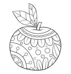 Adult coloring bookpage a cute apple vector