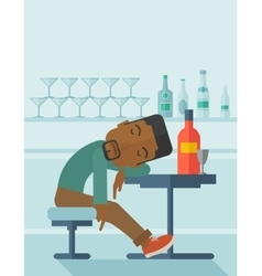 African Drunk man fall asleep in the pub vector
