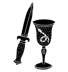 An ancient ritual knife and a sacrificial bowl vector