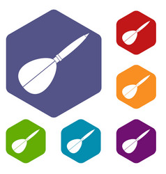 Arrow to play dart icons set hexagon vector