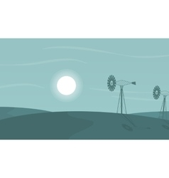 At night windmill scenery of silhouettes vector image