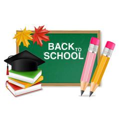 Back to school board realistic crayons vector