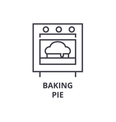 baking pie line icon outline sign linear symbol vector image