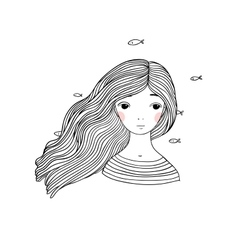 Beautiful young girl and fish vector