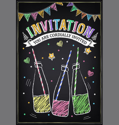 birthday party poster with bottles soda vector image