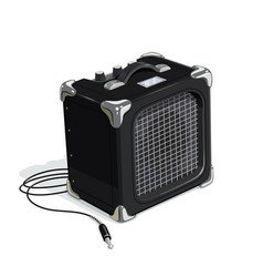 Black guitar combo amplifier vector
