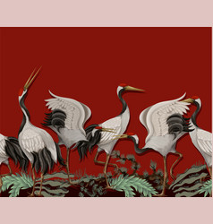 Border with japanese white cranes oriental vector