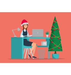 Business woman sitting at the table new year tree vector