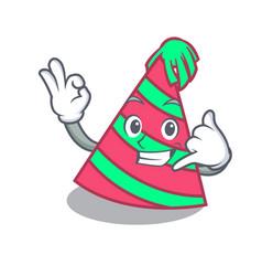 Call me party hat mascot cartoon vector