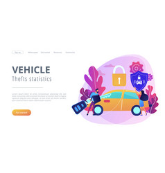 Car alarm system concept landing page vector