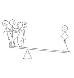 Cartoon of business team and individuality balance vector