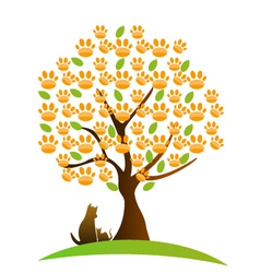 Cat dog and footprint tree logo vector image