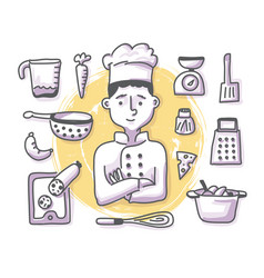 Chef doodle profession vector