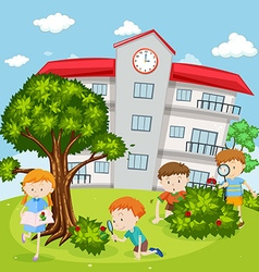 Children playing in school yard vector