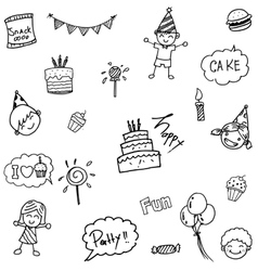 Childs birthday party set doodle vector image
