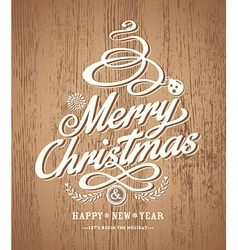 Christmas card design on wood texture background vector