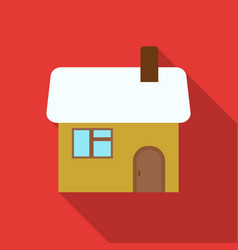 christmas house icon in flat style isolated on vector image