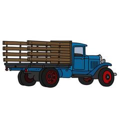 Classic blue truck vector