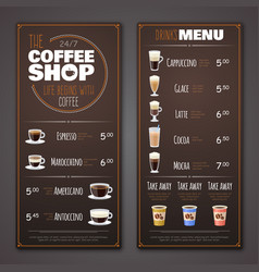 Coffee shop menu design template vector