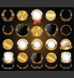 Collection golden badges labels laurels and vector