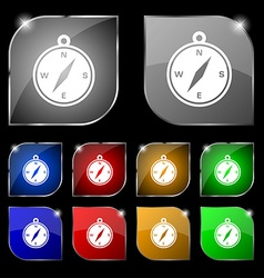 Compass icon sign Set of ten colorful buttons with vector