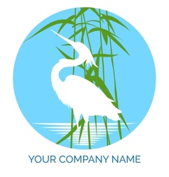 Conservation company logo design with heron vector image
