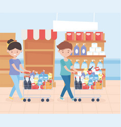 Couple with market carts shelves and cleaning vector