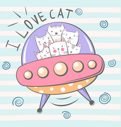 crazy beautiful cat character ufo vector image