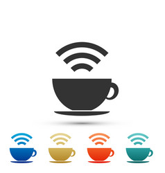 Cup coffee shop with free wi-fi zone icon vector