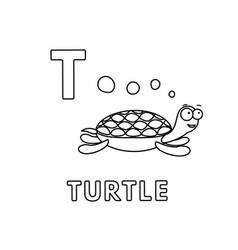 cute cartoon animals alphabet turtle vector image