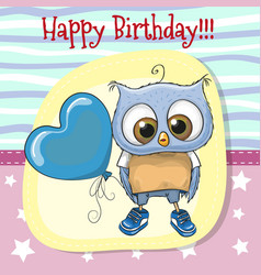 cute cartoon owl with balloon vector image