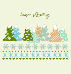 cute christmas trees and snowflakes greeting card vector image