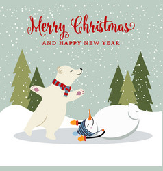 cute retro flat design christmas card with vector image