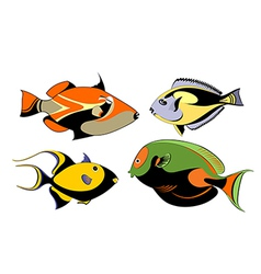 decorative fish set vector image
