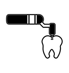 Drill on molar tooth dentistry instrument icon vector